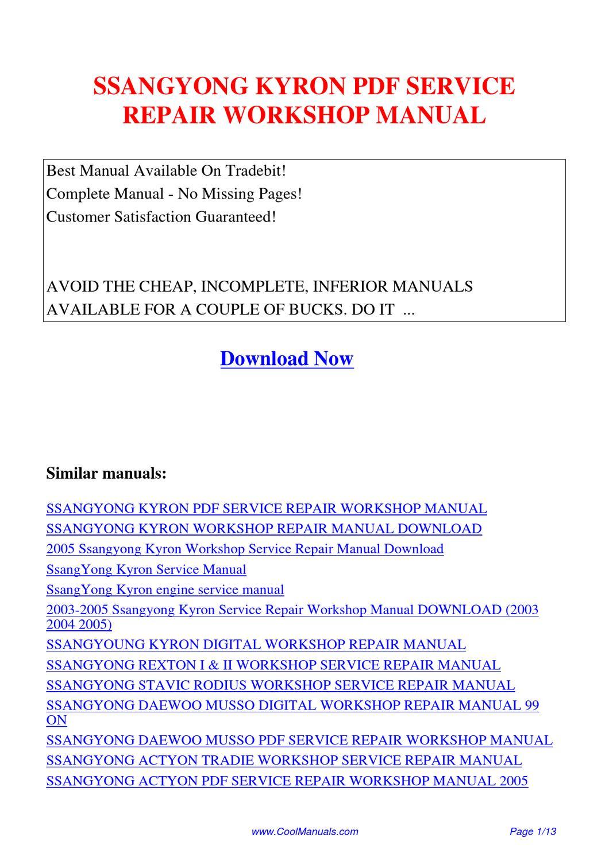 ssangyong kyron service repair workshop manual by kai kaik