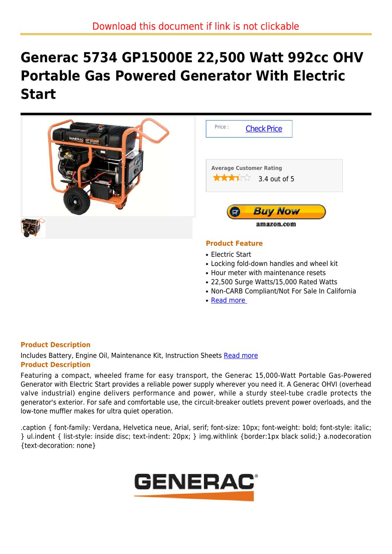 Generac 5734 Gp15000e 22500 Watt 992cc Ohv Portable Gas Powered 15000 Generator Wiring Diagram With Electric Start By Darnell Seefeldt Issuu