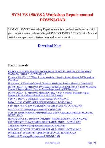 Sym vs150 vs2 scooter service repair manual cd vs 150 for sale.