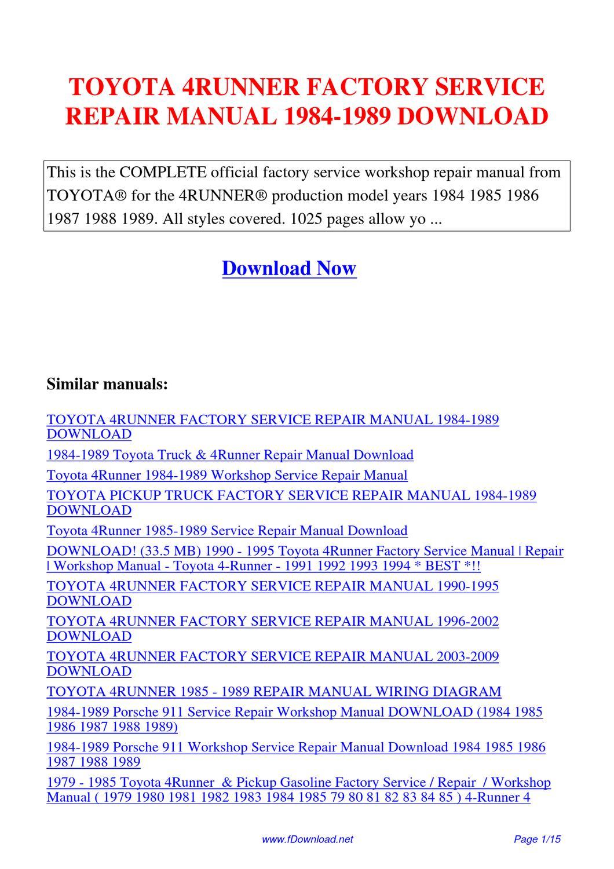 Toyota 4runner Factory Service Repair Manual 1984