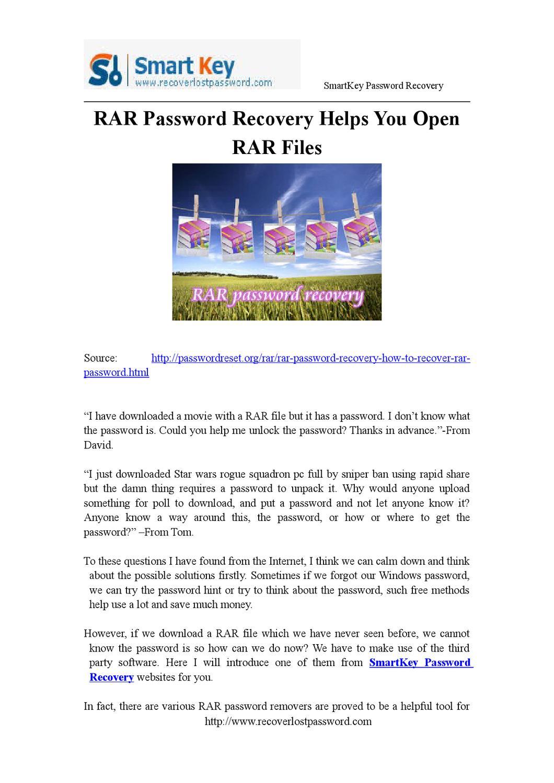 RAR Password Recovery Helps You Open Rar Files by Gina