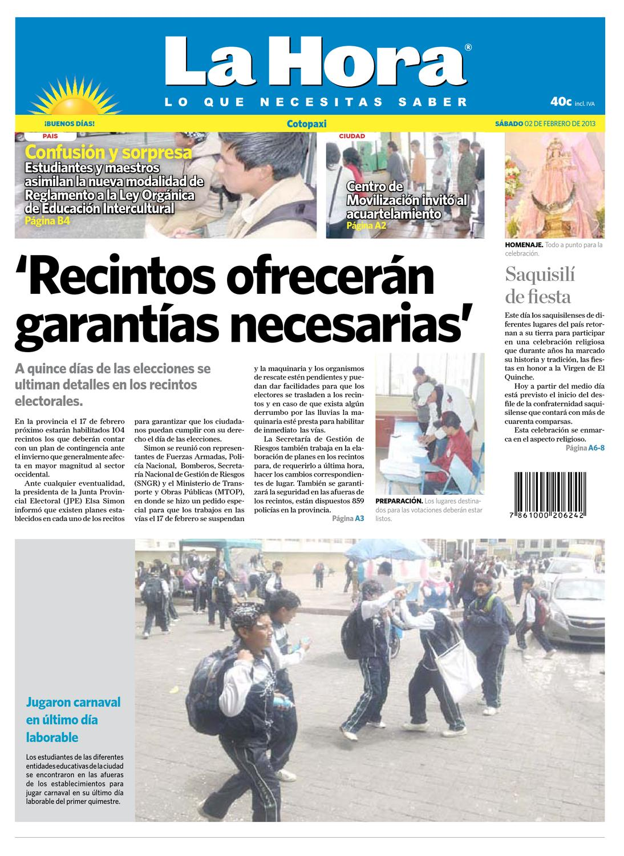 Edición impresa Cotopaxi del 02 de febrero de 2013 by Diario La Hora  Ecuador - issuu 8d62769999e