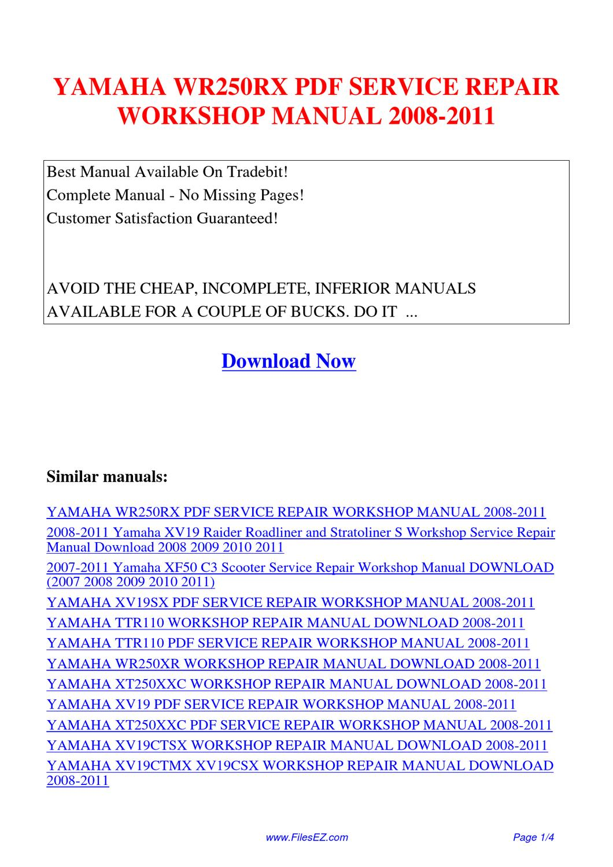 yamaha wr250rx service repair workshop manual 2008 2011 by. Black Bedroom Furniture Sets. Home Design Ideas