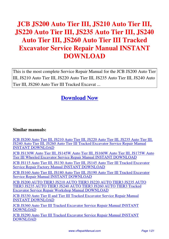 JCB_JS200_Auto_Tier_III_JS210_Auto_Tier_III_JS220_Auto_Tier_III_JS235_Auto_Tier_III_JS240_Auto  by Huang Luan - issuu