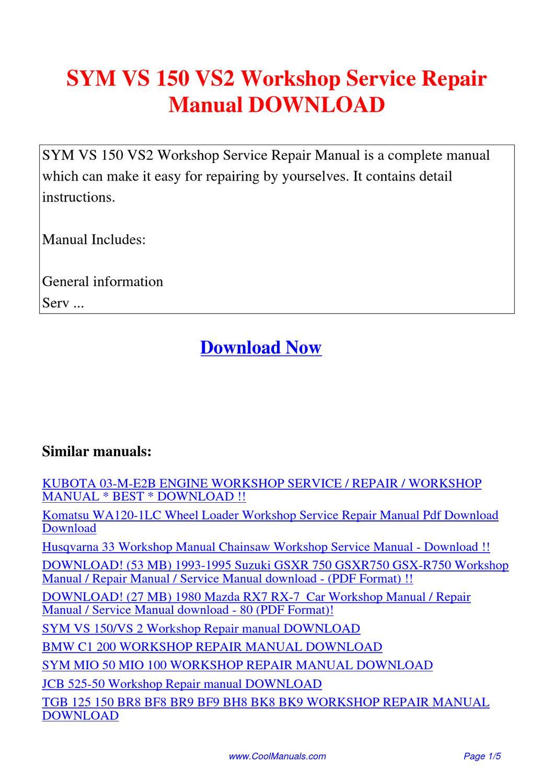 Sym Vs 150 Vs2 Workshop Service Repair Manual By Kai Kaik