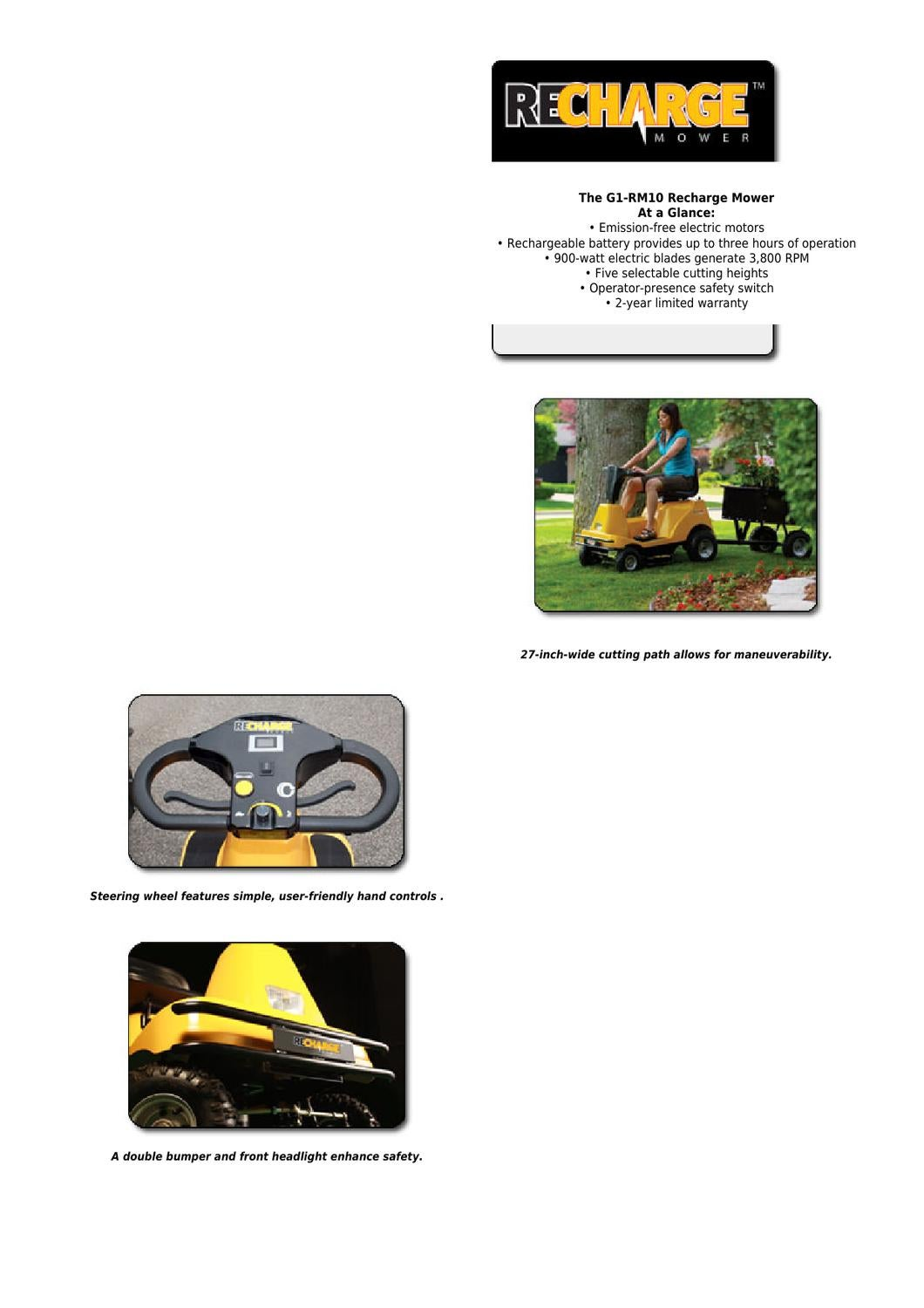 Recharge Mower G1 Rm10 27 Inch 36 Volt 38 Amp Cordless