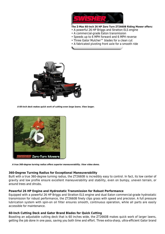 Swisher Z-Max ZT2660B 60-Inch 26 HP Zero Turn Radius Riding