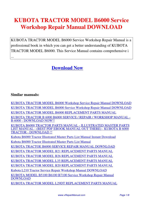 Pay For Kubota Tractor Model B6000 Service Workshop Repair Manual Guide