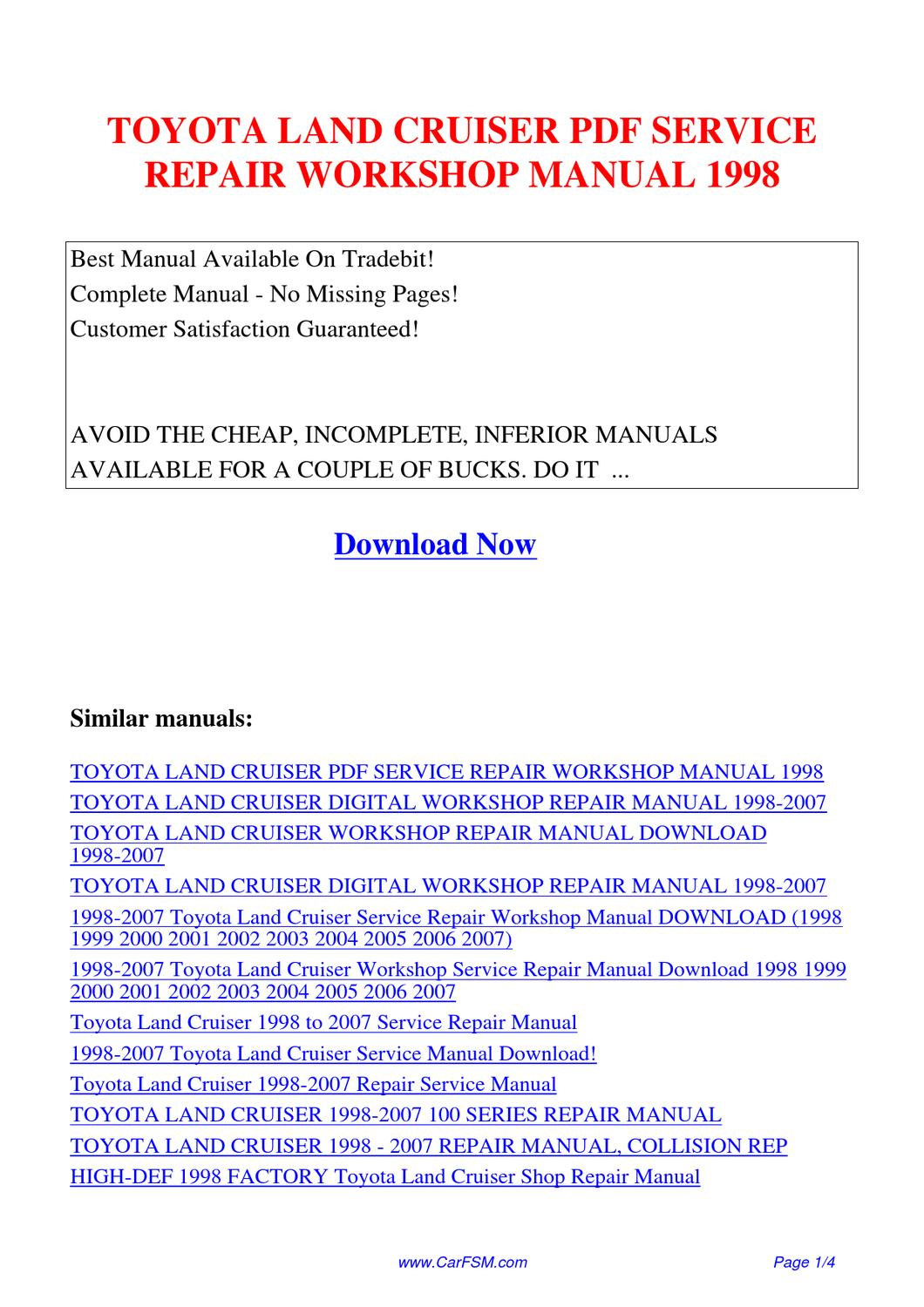 TOYOTA_LAND_CRUISER_SERVICE_REPAIR_WORKSHOP_MANUAL_1998 by Guang Dong -  issuu