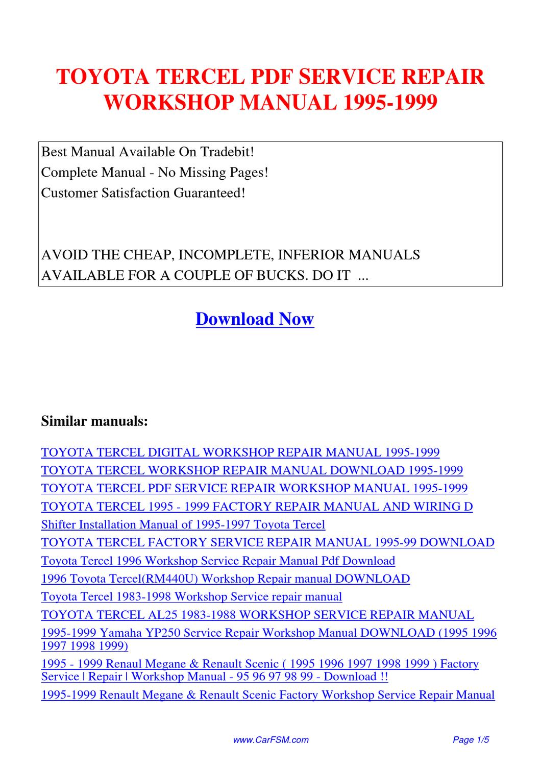 TOYOTA_TERCEL_SERVICE_REPAIR_WORKSHOP_MANUAL_1995-1999 by Guang Dong - issuu