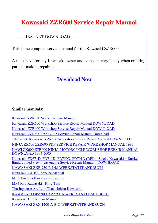 kawasaki zzr600 service repair manual by huang luan issuu. Black Bedroom Furniture Sets. Home Design Ideas