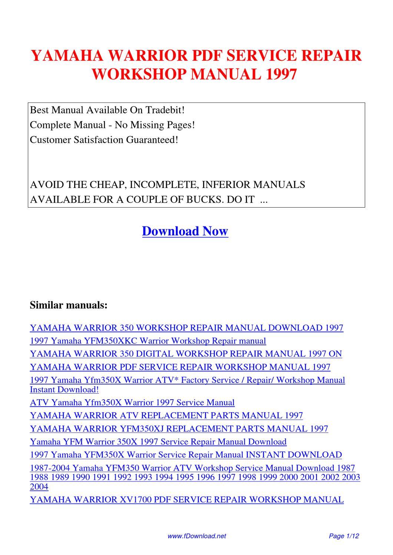 yamaha warrior service repair workshop manual 1997 by. Black Bedroom Furniture Sets. Home Design Ideas
