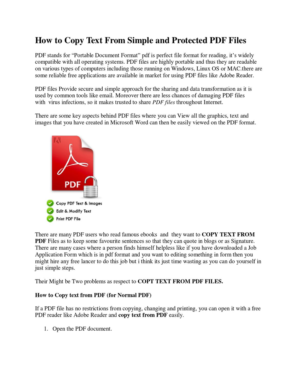 How To Copy Text From Simple And Protected Pdf Files By Dew Bloggers  Issuu