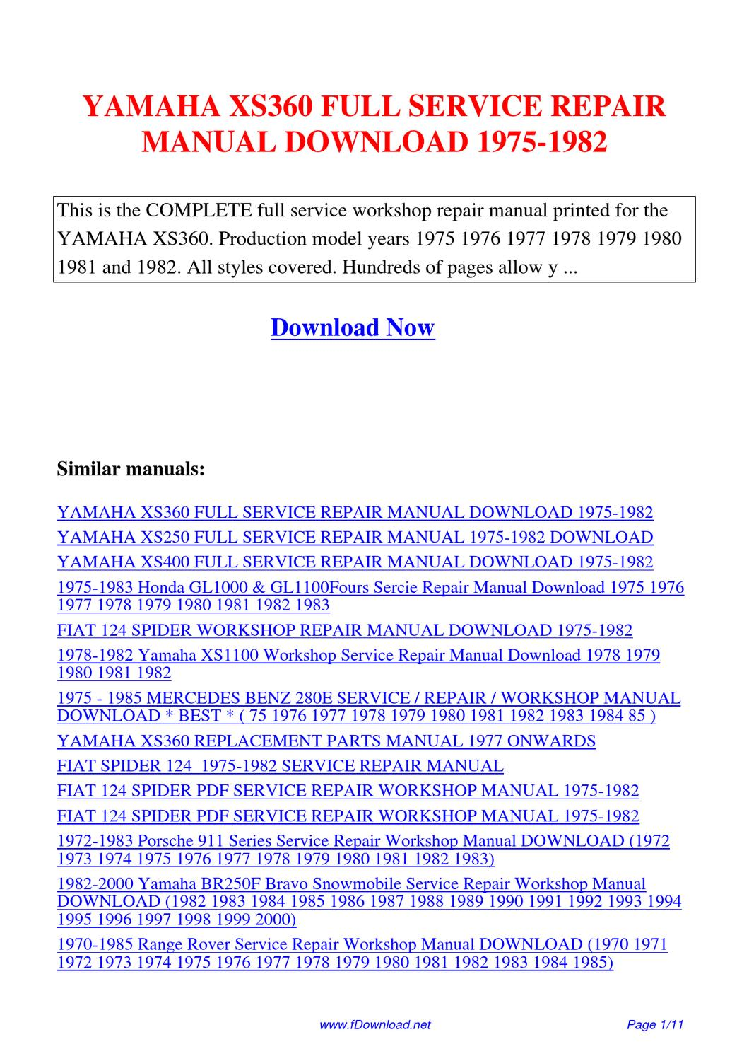yamaha xs360 full service repair manual 1975 1982 by. Black Bedroom Furniture Sets. Home Design Ideas