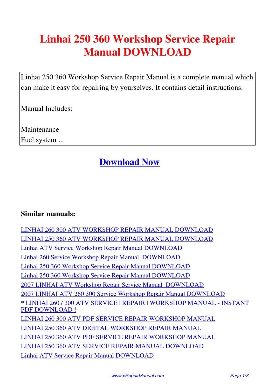 Linhai utv Repair manual