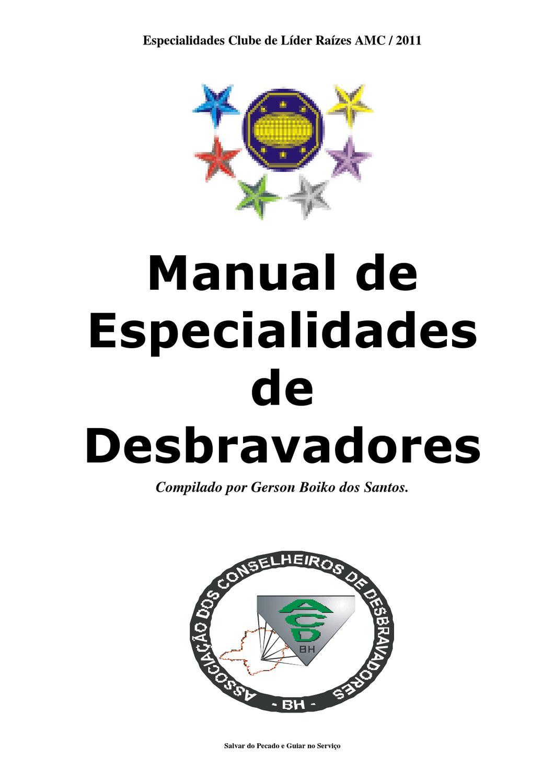 Manual De Especialidades De Desbravador Clube De Lder Razes Amc