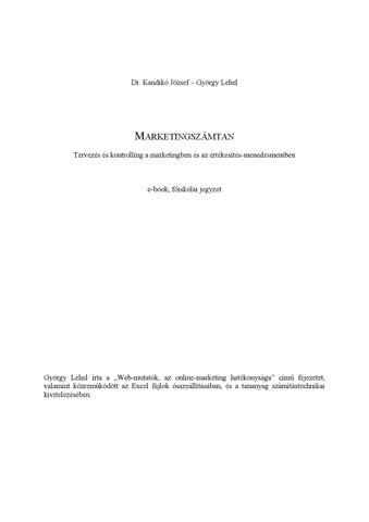 eefede5e32 Marketingszámtan by Edutus Főiskola - issuu