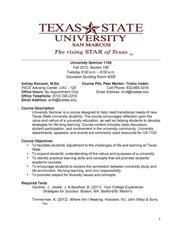 Four-Semester Undergraduate Course Offerings