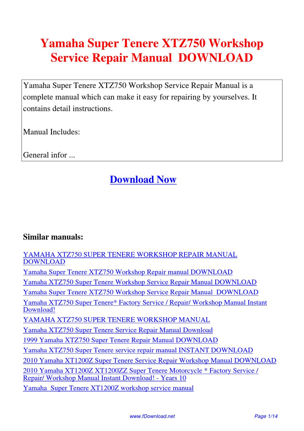 Yamaha Super Tenere Xtz750 Workshop Service Repair Manual By Gipusi Samu