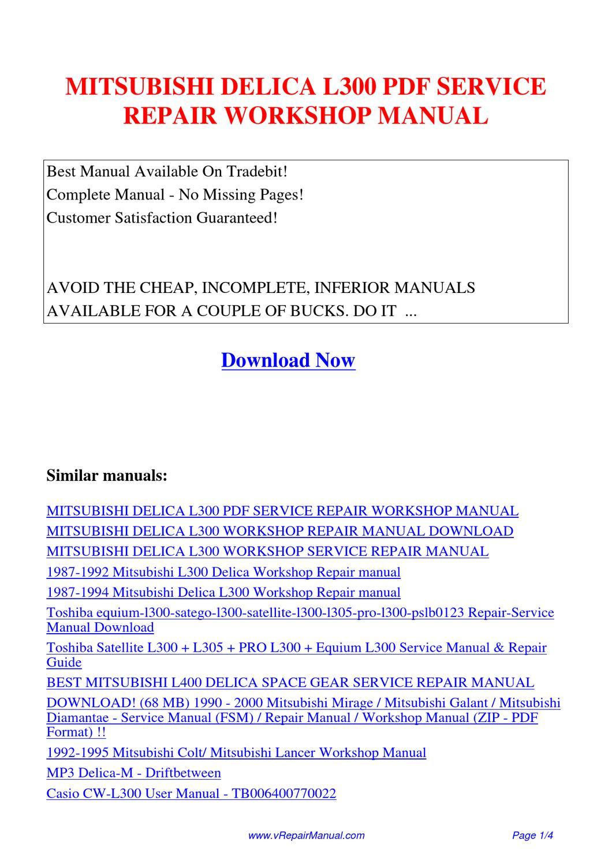 Delica service manual pdf