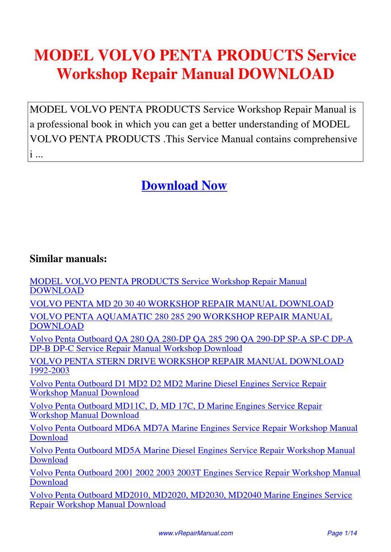 model volvo penta products service workshop repair manual. Black Bedroom Furniture Sets. Home Design Ideas