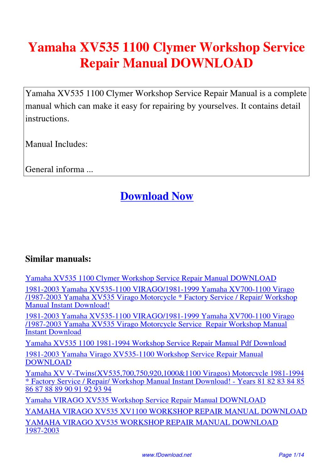 Yamaha Xv535 1100 Clymer Workshop Service Repair Manual By