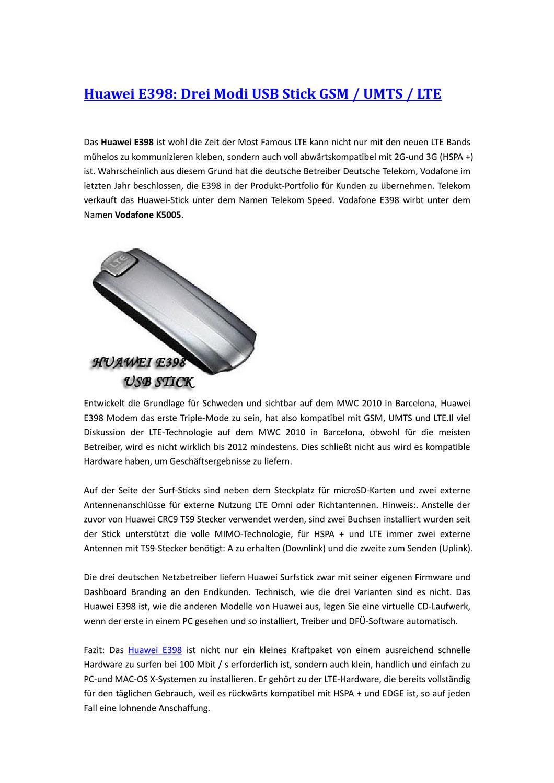 Huawei E398: Drei Modi USB Stick GSM / UMTS / LTE by lee liang - issuu