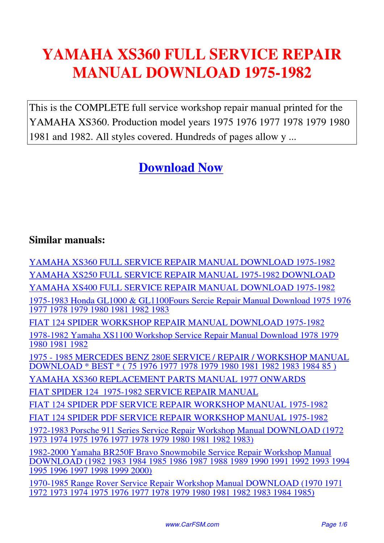 Yamaha Xs360 Full Service Repair Manual 1975