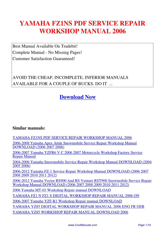 Yamaha Fz1ns Service Repair Workshop Manual 2006 By Kai