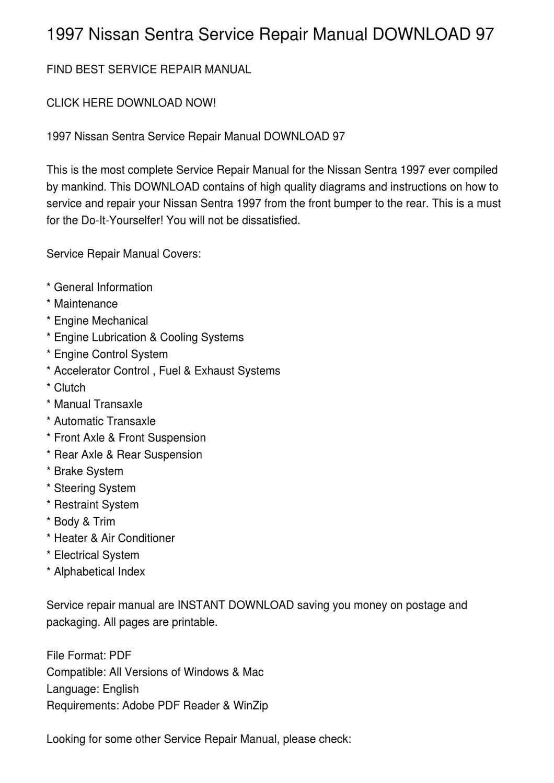 1997 Nissan Sentra Service Repair Manual DOWNLOAD 97 by Vadim Birch - issuu