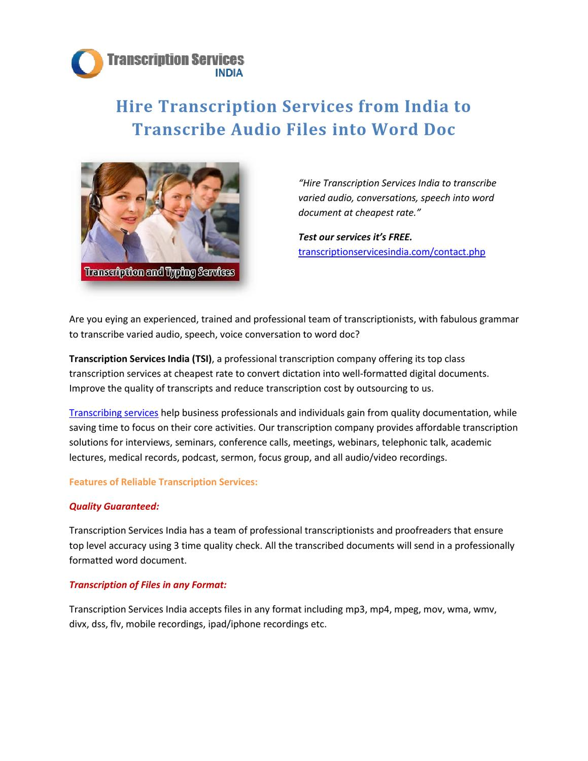 Hire Transcription Services from India to Transcribe Audio