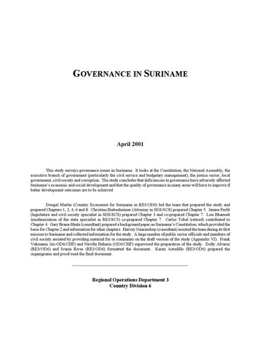 governance in suriname by IDB - issuu