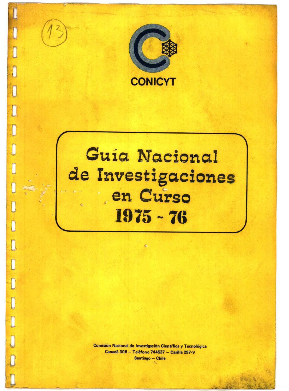 GUIA NACIONAL DE INVESTIGACIONES EN CURSO 1975-1976 by
