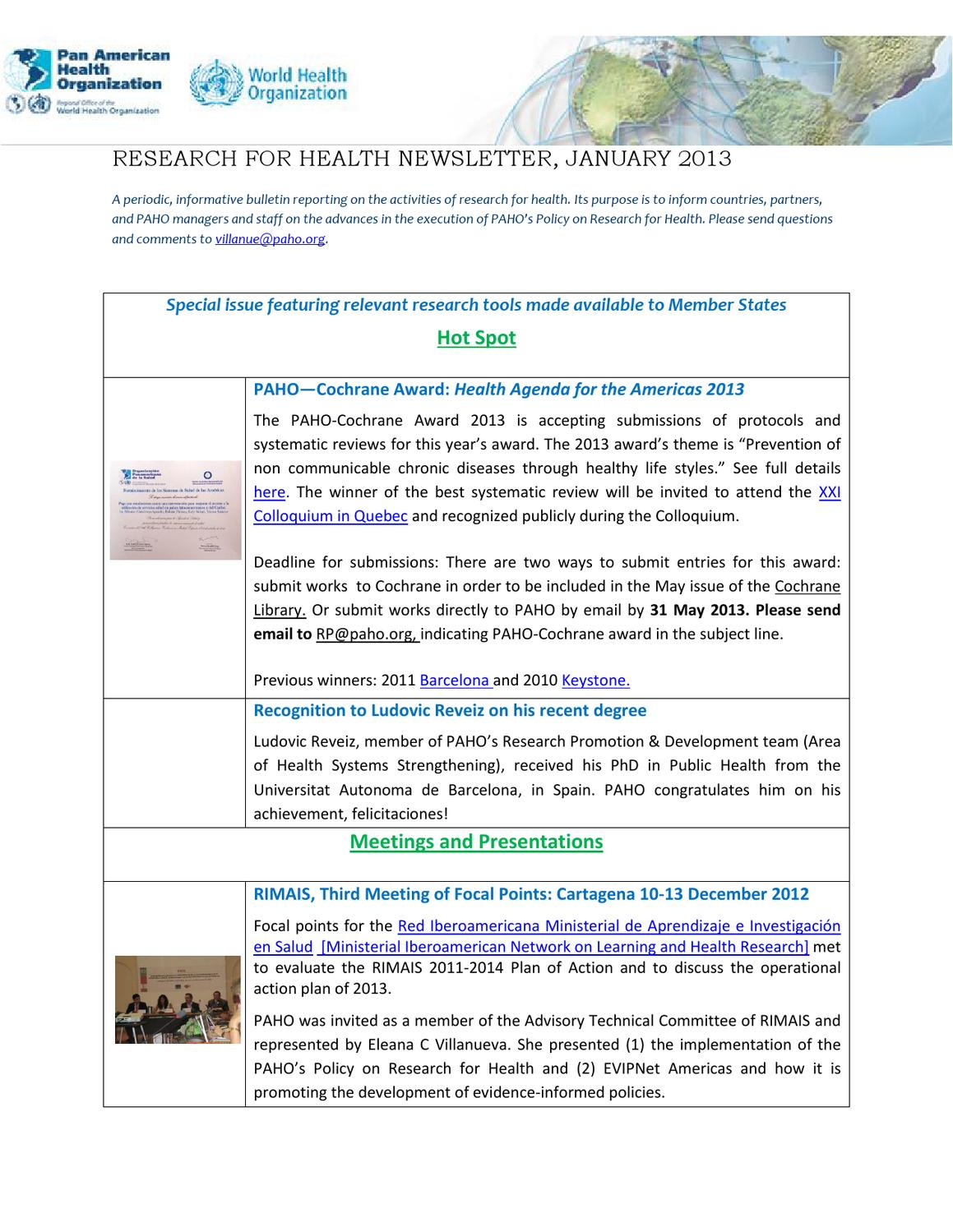 Research Newsletter January 2013 by Pan American Health Organization