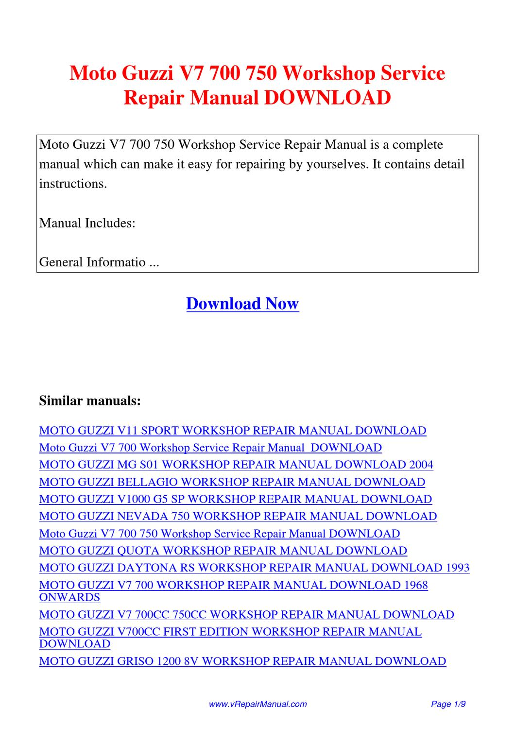 Moto Guzzi V7 700 750 Workshop Service Repair Manual By