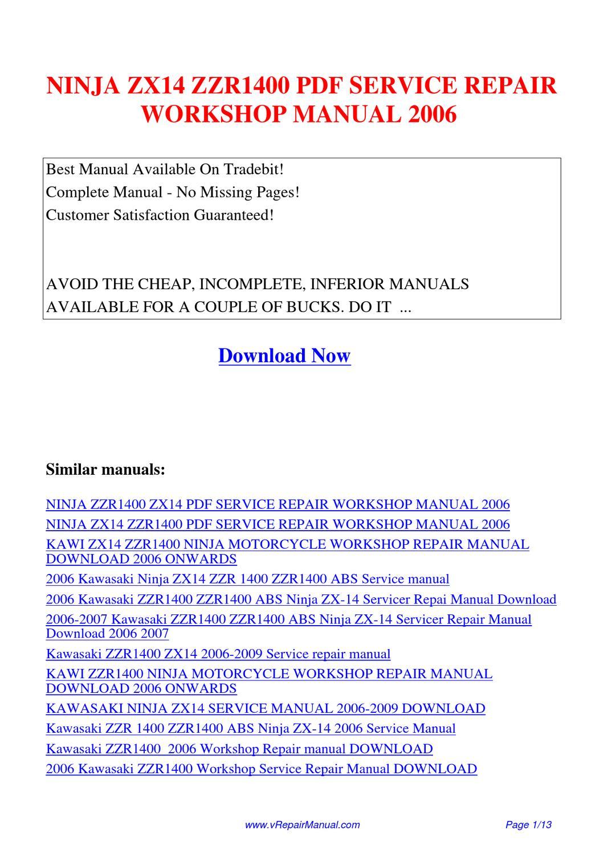 ninja zx14 zzr1400 service repair workshop manual 2006 by. Black Bedroom Furniture Sets. Home Design Ideas