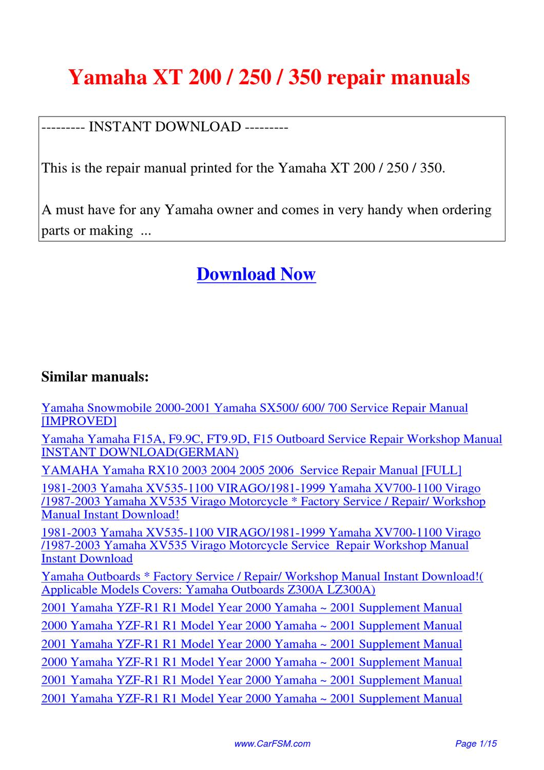 1988 Yamaha Pro50lg Ebook Diagram Of All Years Ef2500 Power Equipment Generator Array Xt 200 250 350 Repair Manuals By Guang Dong Issuu Rh
