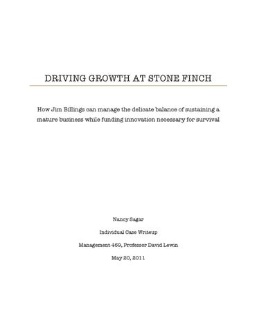 stone finch case study solution