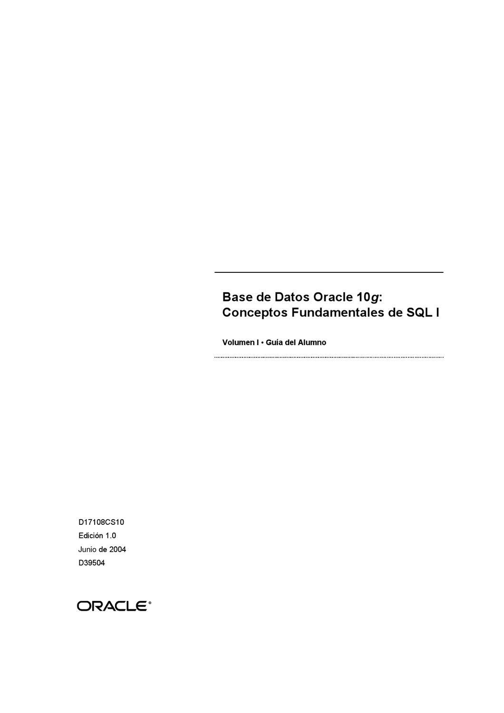 Base de Datos Oracle 10g - Conceptos Fundamentales de SQL I by Aula ...