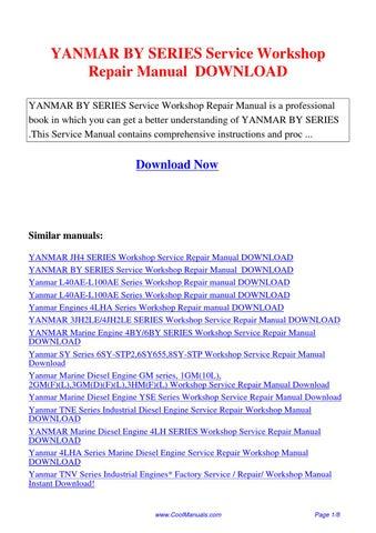 yanmar 3jh4 to 4jh4 hte marine diesel engine full service repair manual