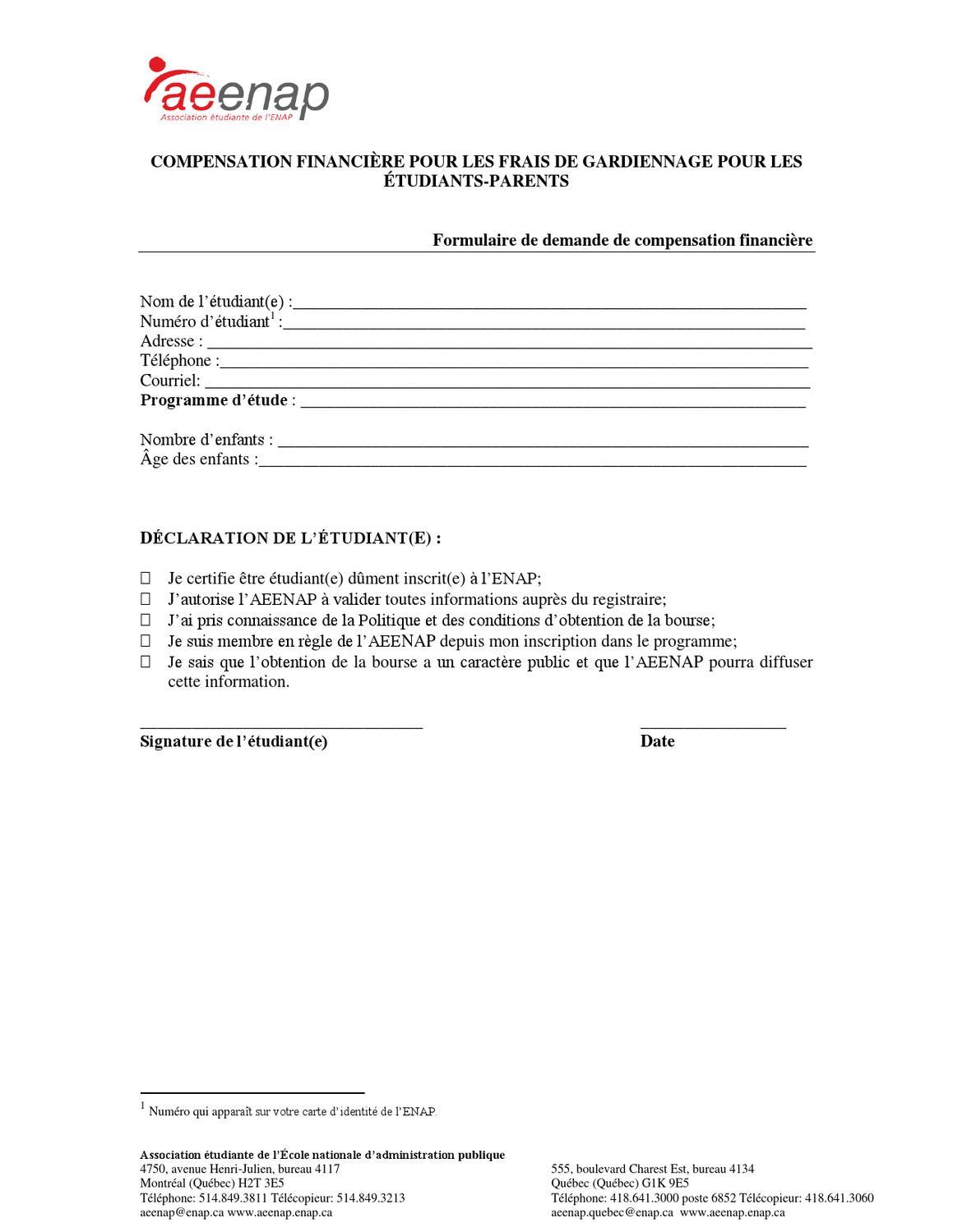 formulaire compensation financi re pour tudiants parents by asso aeena p issuu. Black Bedroom Furniture Sets. Home Design Ideas