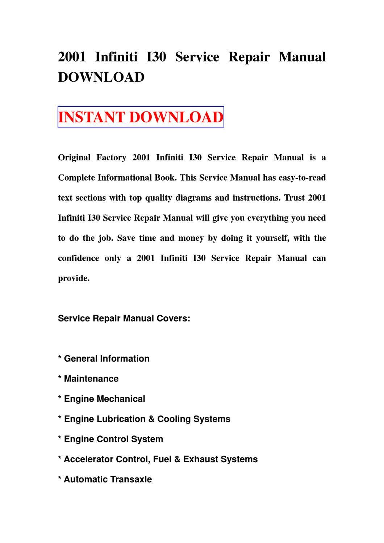 2001 Infiniti I30 Service Repair Manual Download By Sdg Sf