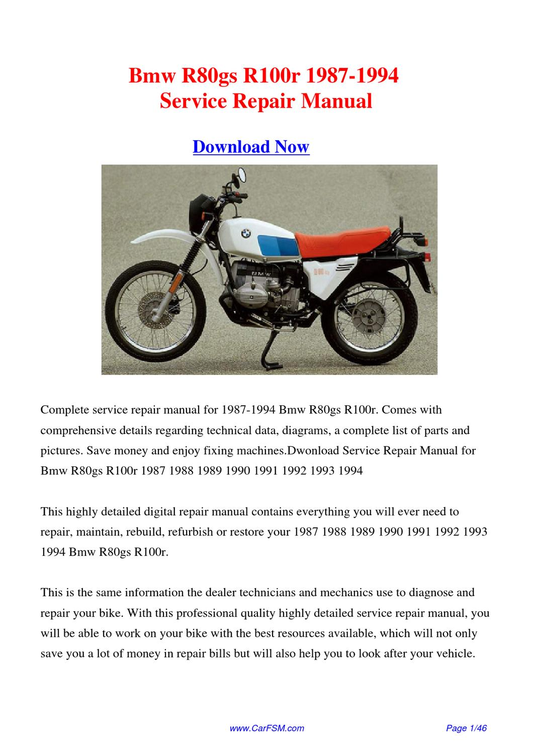 bmw r80gs r100r 1987 1994 factory repair manual by gong. Black Bedroom Furniture Sets. Home Design Ideas