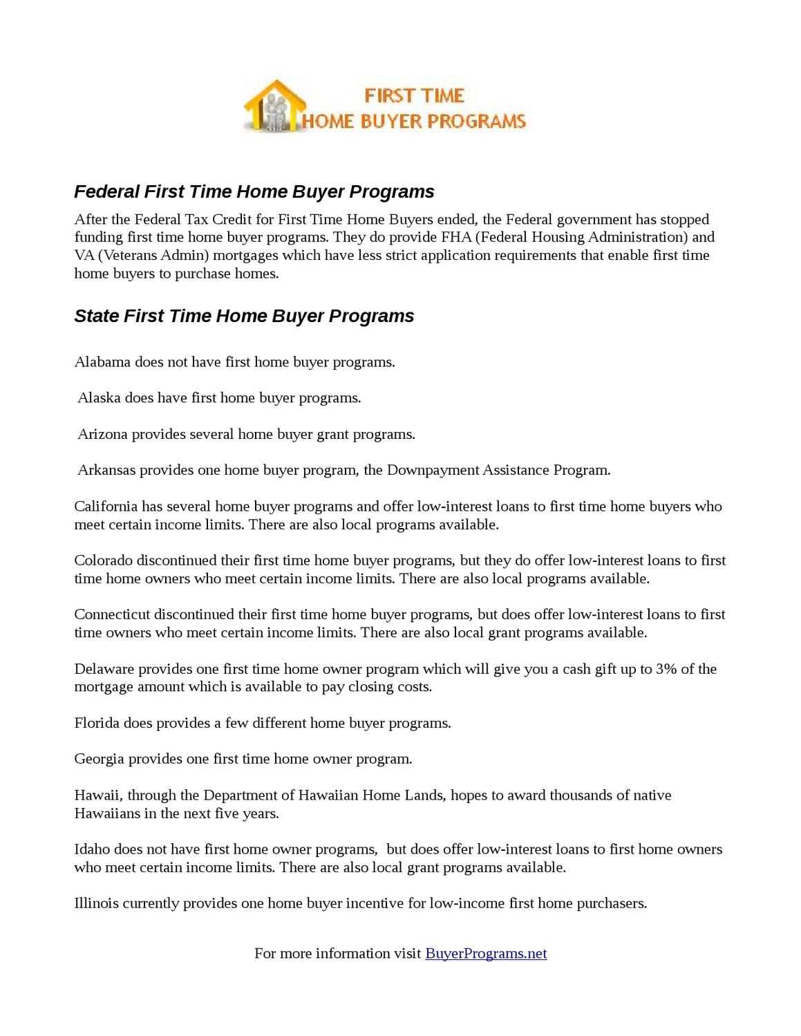 List Of First Time Home Buyer Programs By William Henderson Issuu