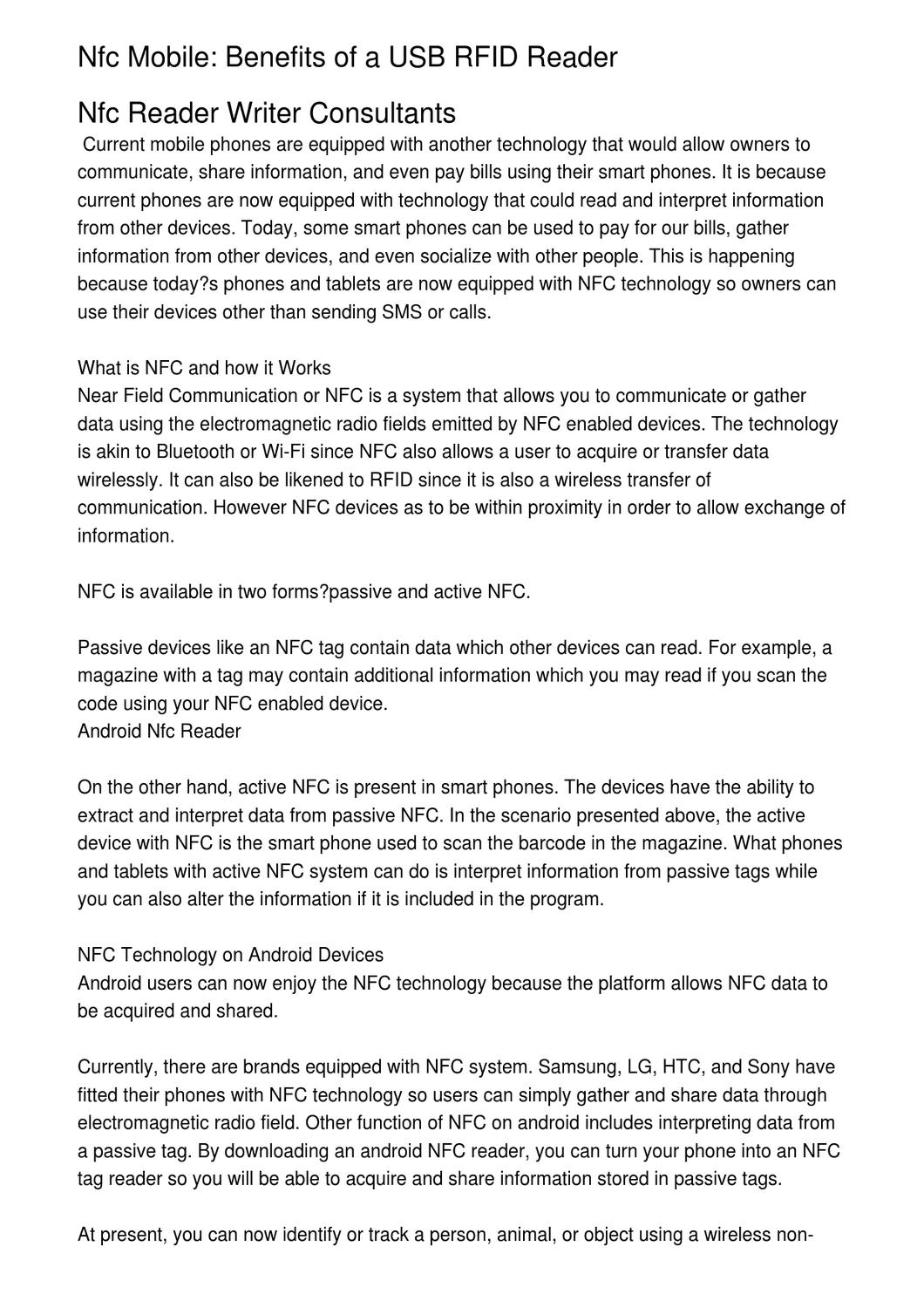 Nfc Mobile: Benefits of a USB RFID Reader by Verne Rivers - issuu