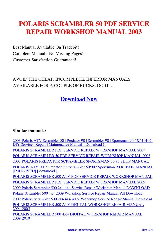 Polaris Scrambler 50 Service Repair Workshop Manual 2003