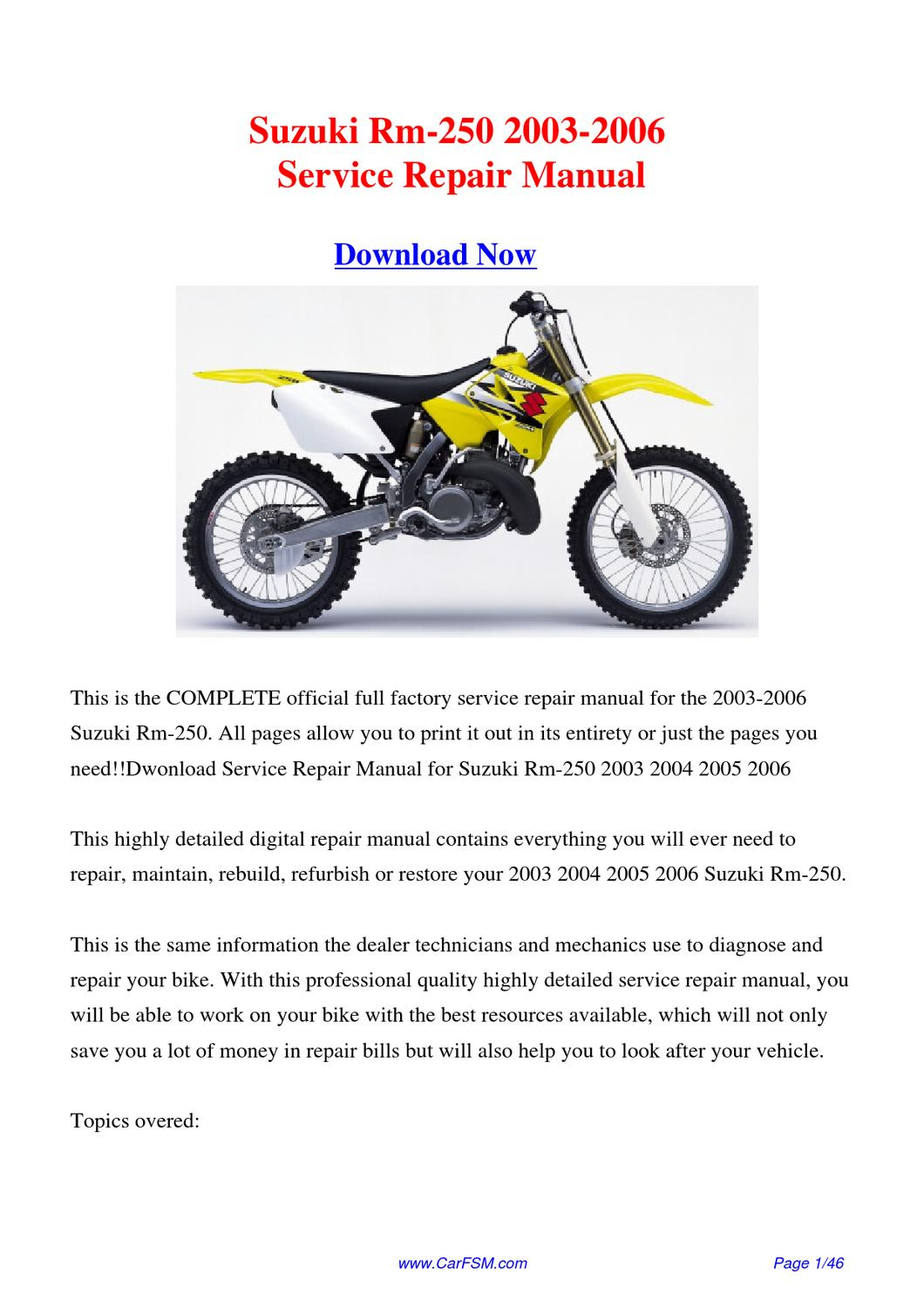 download 2003 2006 suzuki rm 250 factory repair manual by. Black Bedroom Furniture Sets. Home Design Ideas