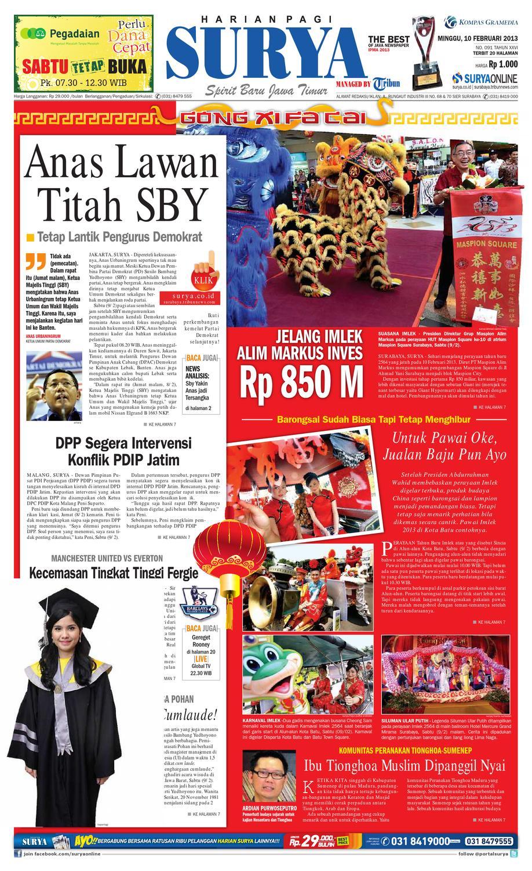 E Paper Surya Edisi 10 Februari 2013 By Harian SURYA Issuu