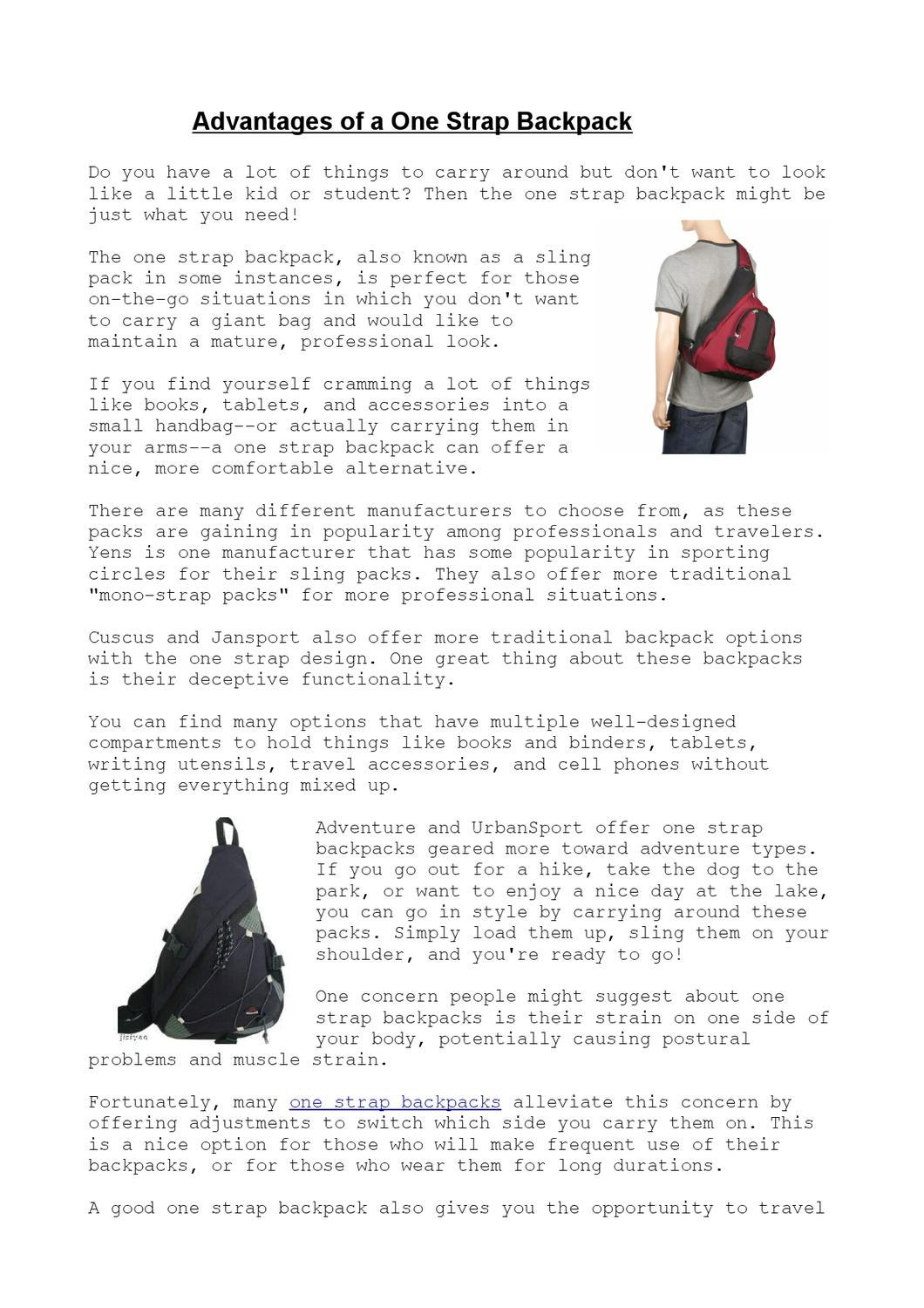 e926a42d5c18 What are the best one strap backpacks by mike day - issuu