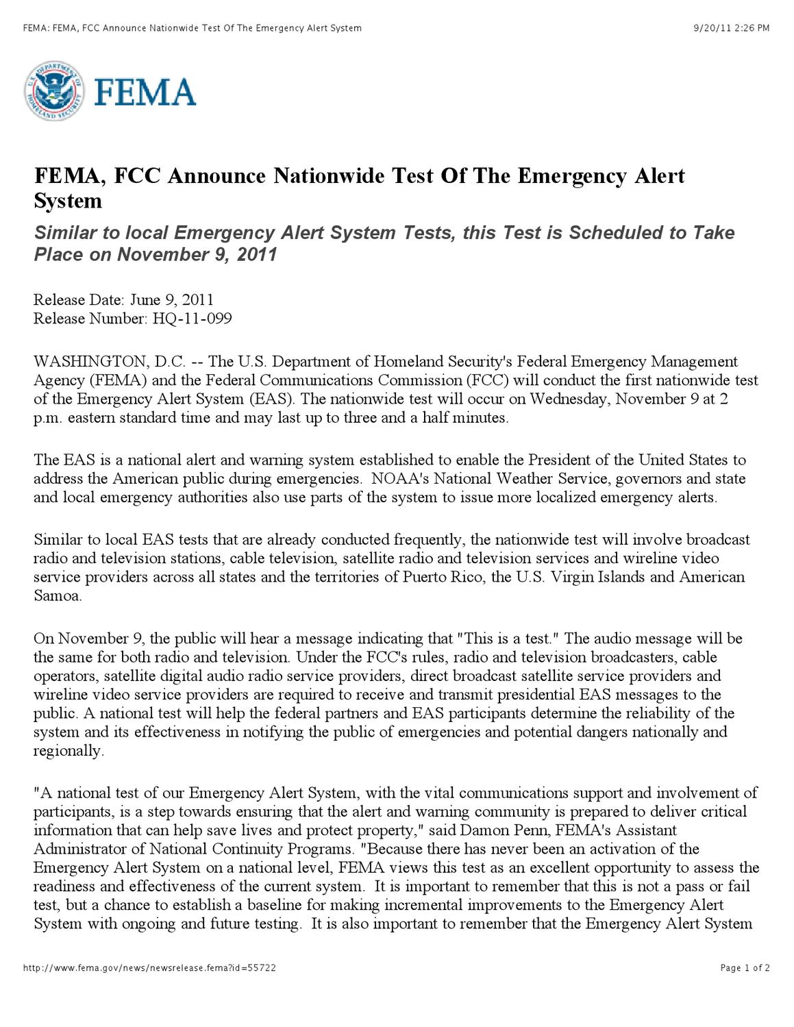 FEMA Test EAS System on 11-9-2011 by The United Congregation of
